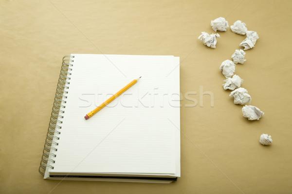 Signo de interrogación lápiz cuaderno escuela trabajo signo Foto stock © caimacanul