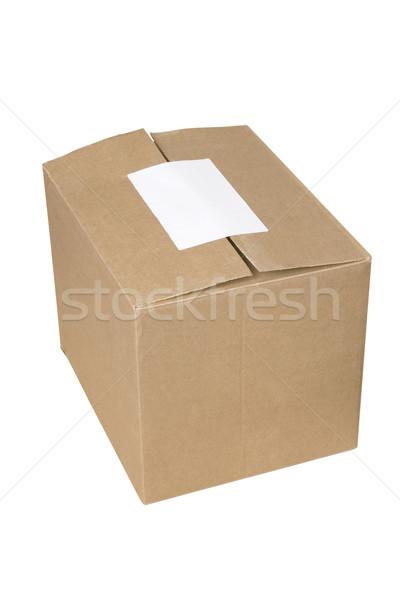 Zárva szállítás kartondoboz fehér üres címke Stock fotó © caimacanul