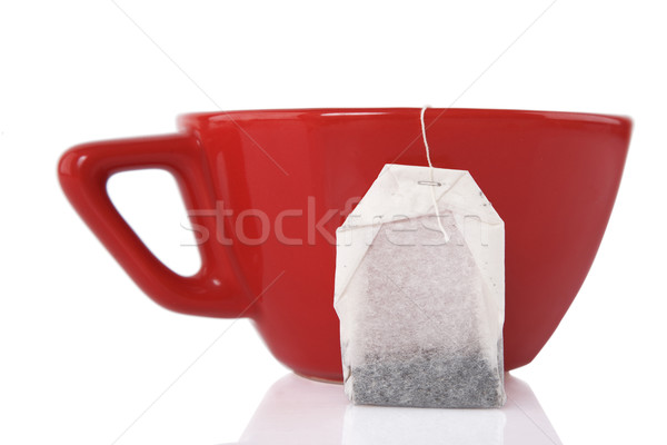 Red Ceramic cup with tea bag  Stock photo © caimacanul