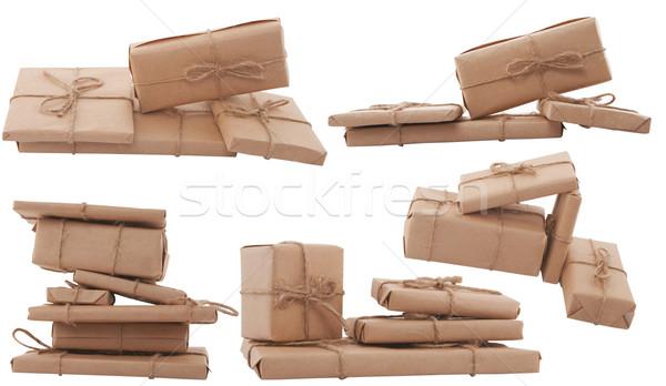 Ajándék doboz különböző forma fehér papír esküvő Stock fotó © caimacanul