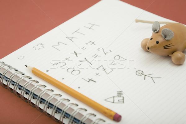 домашнее задание Math карандашом деревянная игрушка работу пер Сток-фото © caimacanul