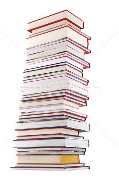 Magas könyvek boglya izolált fehér bölcsesség Stock fotó © caimacanul