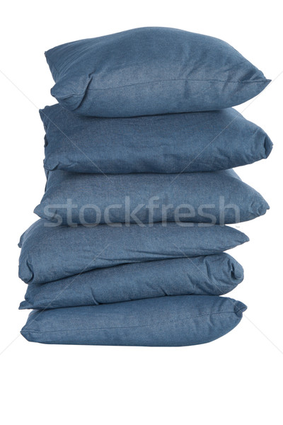 stack of blue denim pillows Stock photo © caimacanul