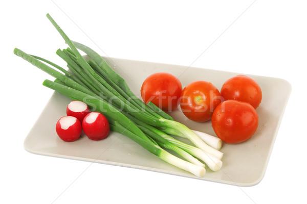 Photo stock: Blanche · plaque · tomate · radis · nourriture · végétarienne