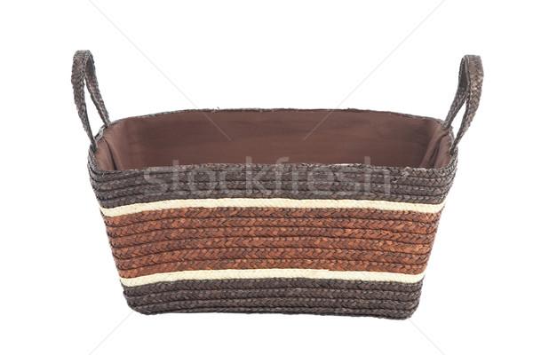 Szalmaszál kosár izolált kéz vásárlás doboz Stock fotó © caimacanul