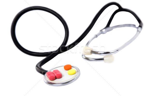 Medische kleurrijk pillen stethoscoop witte arts Stockfoto © caimacanul