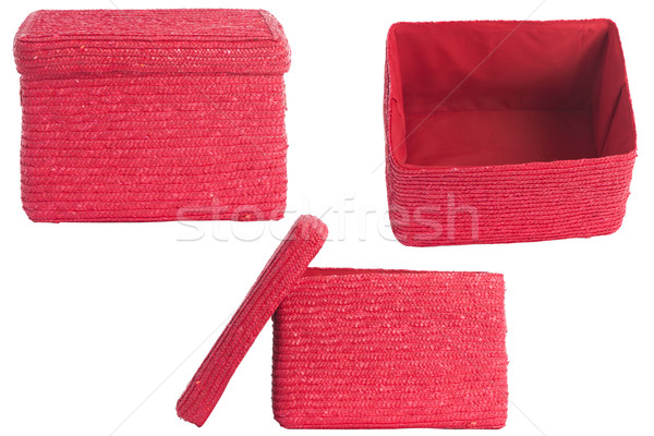decorative red wicker basket with lid Stock photo © caimacanul