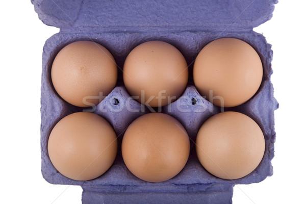 brown hens eggs in blue egg carton Stock photo © caimacanul