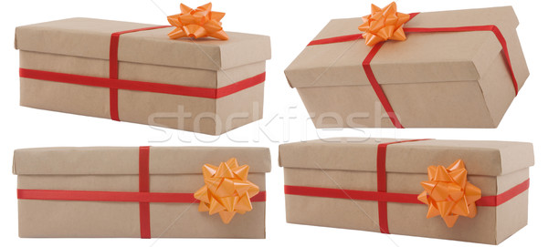 Ajándék doboz vörös szalag fehér papír esküvő boldog Stock fotó © caimacanul