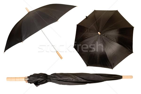 Negro paraguas aislado blanco protección sol Foto stock © caimacanul