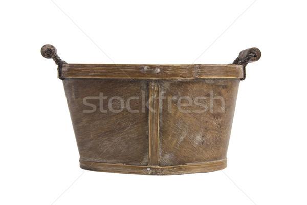 Pusty koszyka drewna uchwyt biały tekstury Zdjęcia stock © caimacanul