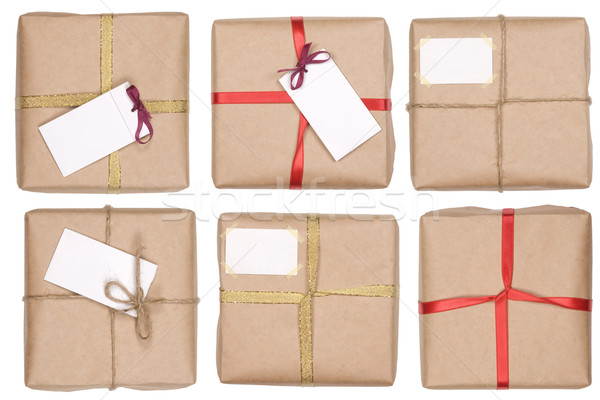 gift box with ribbon and blank label Stock photo © caimacanul