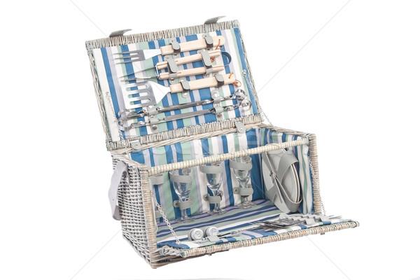 Piknik fából készült kosár üveg tányérok grill Stock fotó © caimacanul