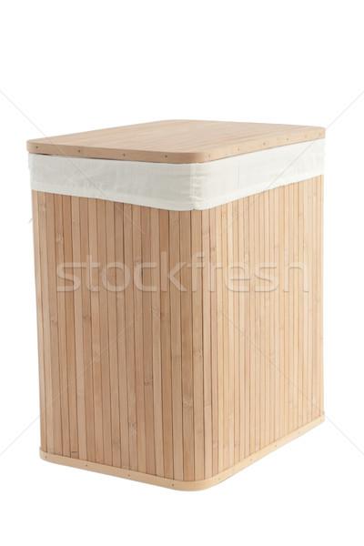 Szennyeskosár bambusz izolált fehér textúra kosár Stock fotó © caimacanul