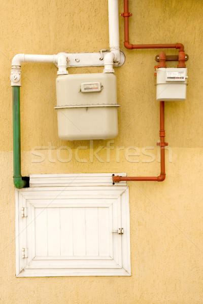 Benzin cső citromsárga fal pult technológia Stock fotó © caimacanul