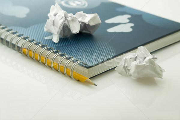 Papieren notebook Geel potlood papier achtergrond Stockfoto © caimacanul