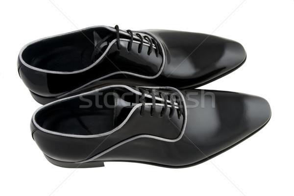 Siyah adam ayakkabı yalıtılmış beyaz iş adam Stok fotoğraf © caimacanul