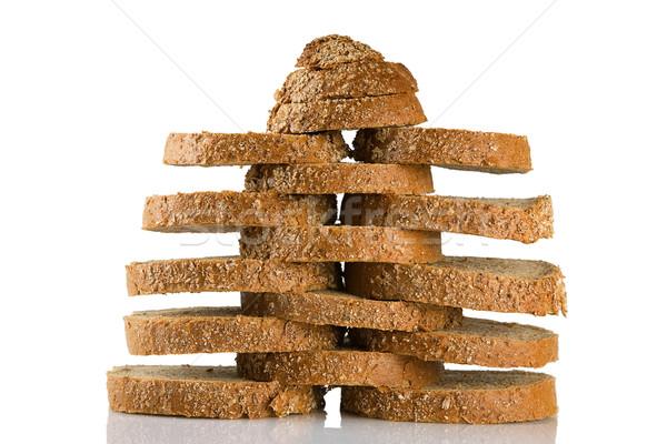 Szeletel barna kenyér izolált fehér csoport Stock fotó © caimacanul