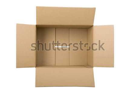 Abierto caja de cartón blanco tarjeta presente bordo Foto stock © caimacanul