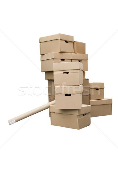 Stockfoto: Karton · dozen · bruin · verschillend · witte