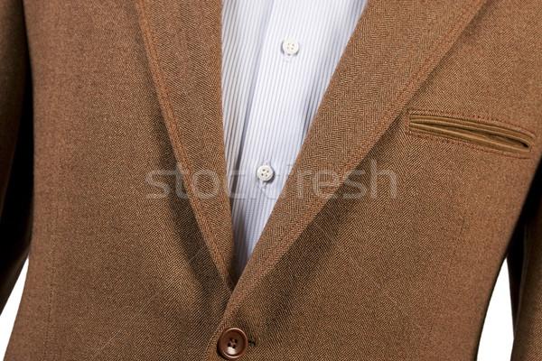 Barna öltöny részlet csíkos kék póló Stock fotó © caimacanul