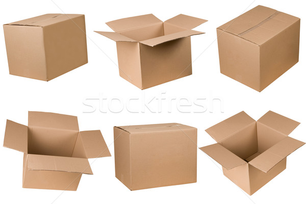 Stock photo: Opened and closed cardboard box