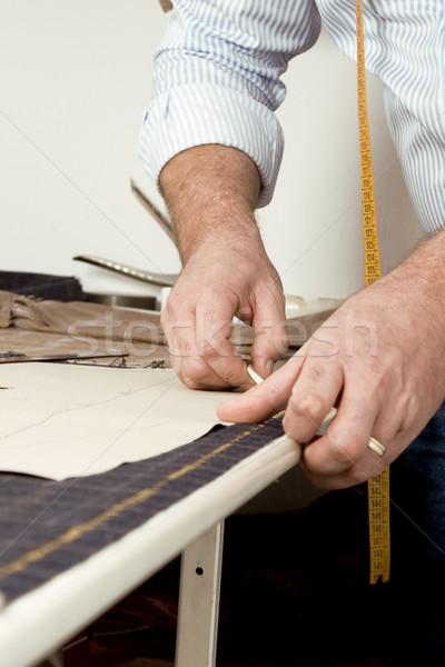 Sastre trabajo dibujo línea tejido tiza Foto stock © caimacanul