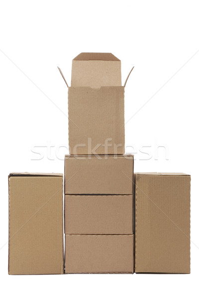 Brown cardboard boxes arranged in stack Stock photo © caimacanul