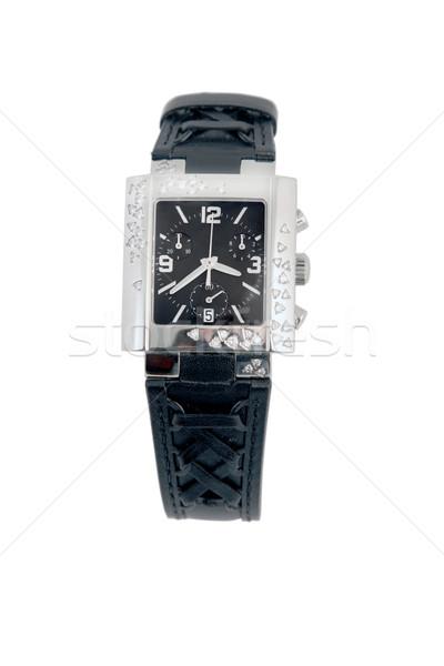 Stockfoto: Zwarte · leder · witte · goud · horloge