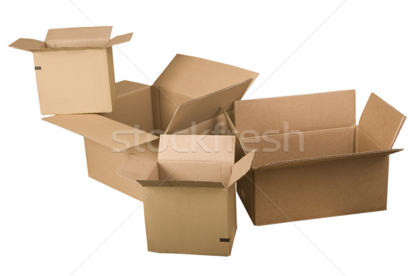 Stock fotó: Nyitva · barna · karton · dobozok · fehér · iroda