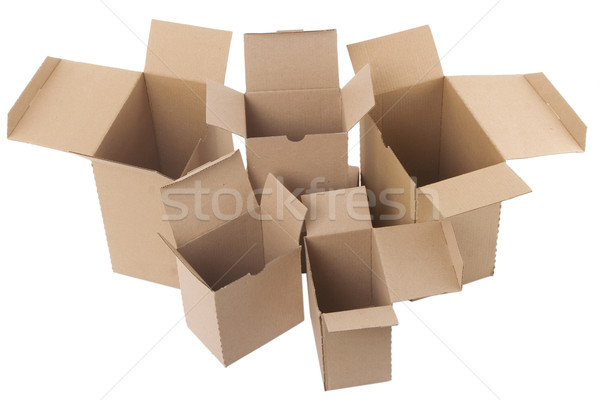 open brown cardboard boxes on white background Stock photo © caimacanul