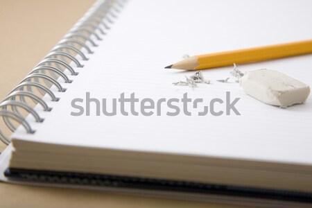 Ceruza radír maradék notebook iroda iskola Stock fotó © caimacanul