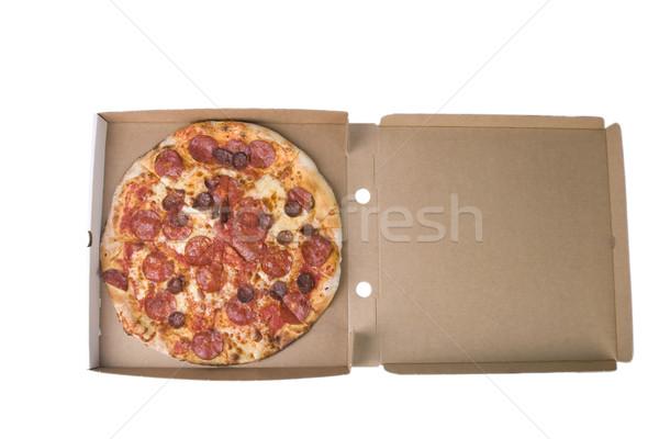 Fűszeres pizza doboz kartondoboz fehér étel Stock fotó © caimacanul
