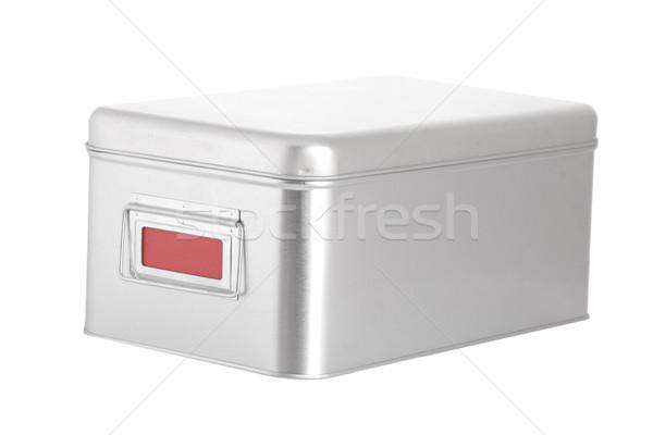 Ezüst acél doboz piros címke fehér Stock fotó © caimacanul