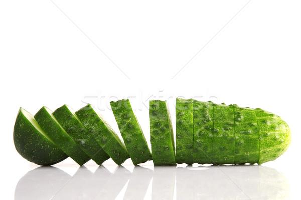 Salatalık dilimleri görmek yalıtılmış beyaz Stok fotoğraf © caimacanul