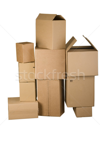 Brown different cardboard boxes arranged in stack Stock photo © caimacanul