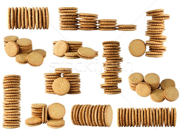 Biscuits verschillend vorm witte groep snoep Stockfoto © caimacanul