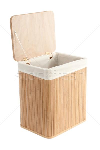 корзина для белья бамбук изолированный белый текстуры корзины Сток-фото © caimacanul