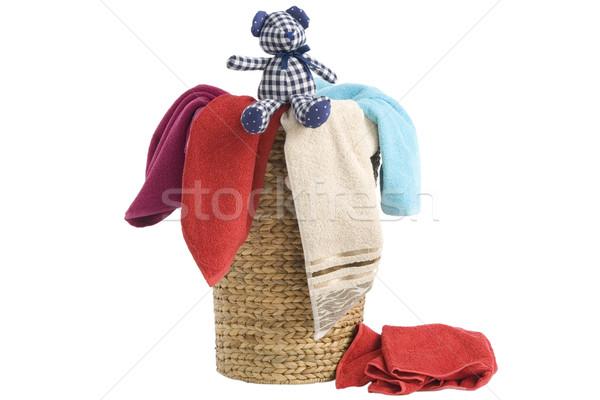 Cestino di lavanderia asciugamani colorato basket isolato bianco Foto d'archivio © caimacanul