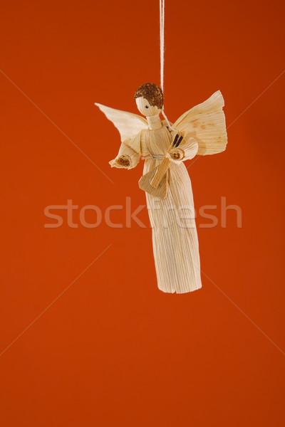 Paja Navidad ángel frente vista vintage Foto stock © caimacanul