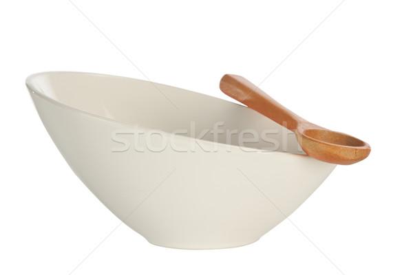 Zdjęcia stock: Biały · puchar · drewna · łyżka · odizolowany · tle