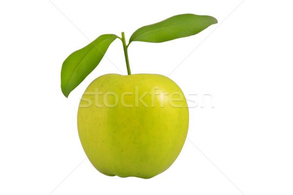 Friss zöld alma levelek fehér étel Stock fotó © caimacanul
