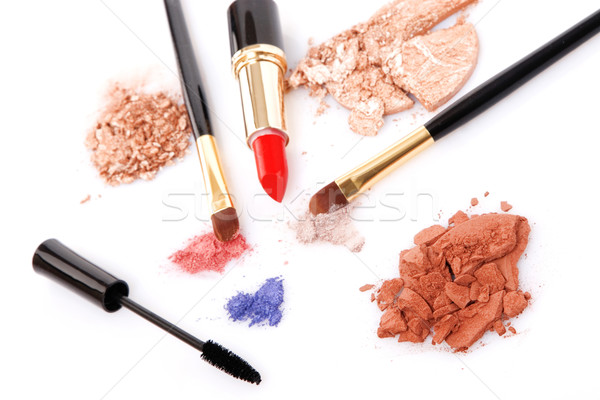 Make-up brush, lipstick and different powder Stock photo © caimacanul