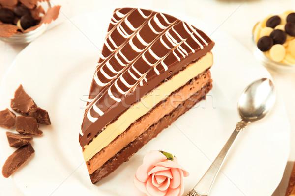 Kahve kek siyah beyaz çikolata gıda parti Stok fotoğraf © caimacanul