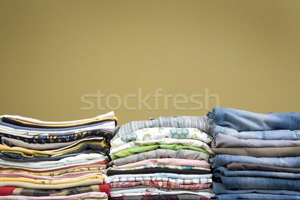 Szín egymásra pakolva ruházat elöl kilátás póló Stock fotó © caimacanul
