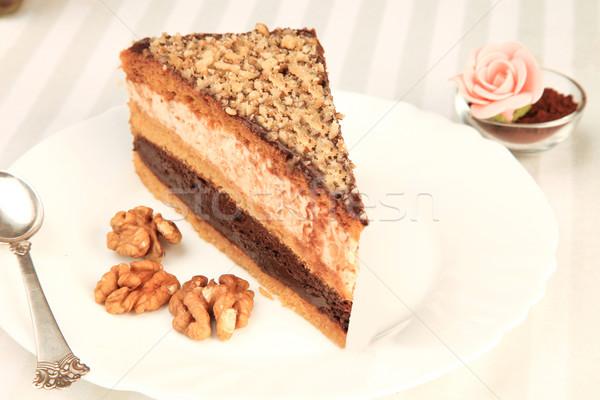 Café bolo bolo de chocolate branco prato prata Foto stock © caimacanul