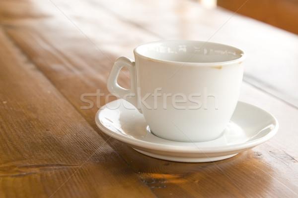 Kávéscsésze fa asztal elöl kilátás textúra háttér Stock fotó © caimacanul