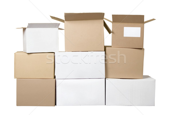 Brown and white different cardboard boxes arranged in stack Stock photo © caimacanul