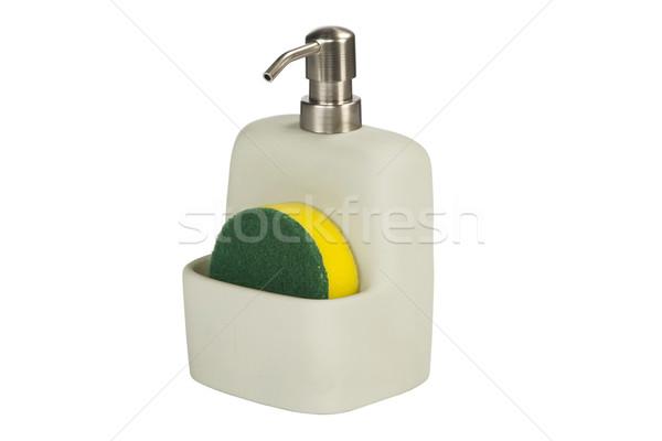 Edény szappan üveg szivacs kerámia fehér Stock fotó © caimacanul