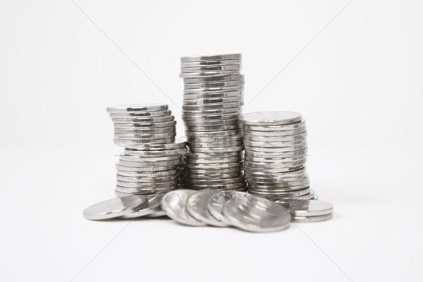 серебро монетами белый деньги фон металл Сток-фото © caimacanul